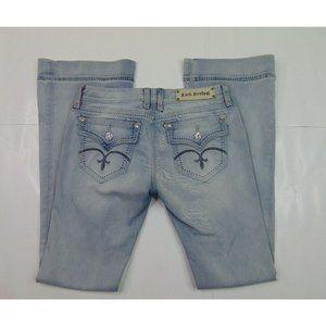 Rock Revival Women 30 x 34 Light Blue Jeans Celine Flare Stretch Denim Flap